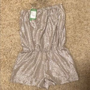 NWT Lilly Pulitzer strapless gold romper
